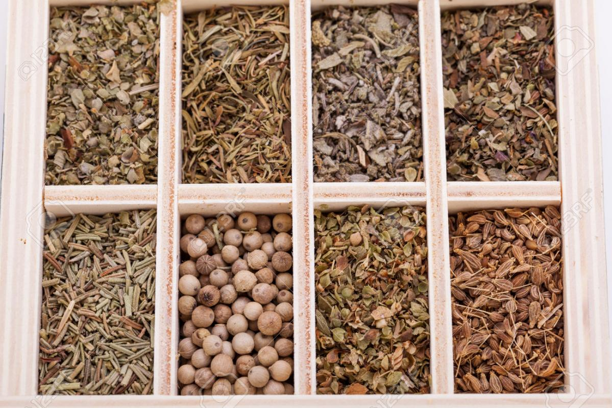 26873856-Overhead-view-of-a-tray-with-individual-divisions-displaying-assorted-dried-spices-and-herbs-for-use-Stock-Photo_tTb2dC